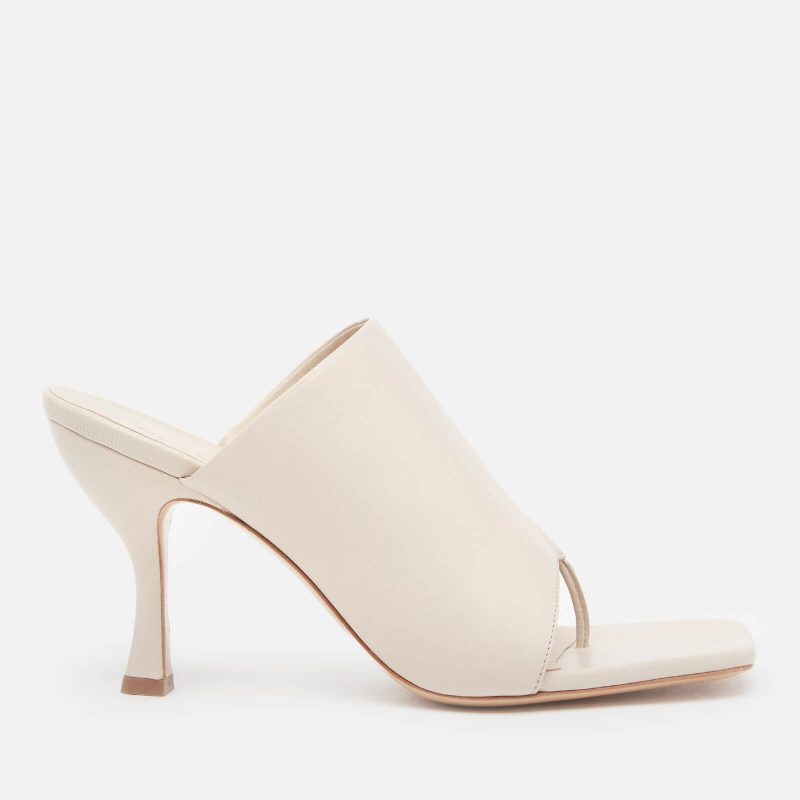 Gia Couture X Pernille Women's Perni 80mm Leather Toe Post Heeled Mules - Cream Leather - UK 3