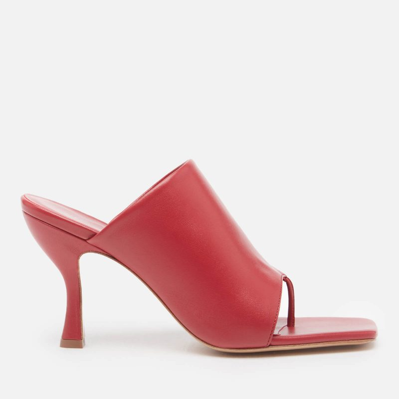 Gia Couture X Pernille Women's Perni 80mm Leather Toe Post Heeled Mules - Oxblood - UK 3