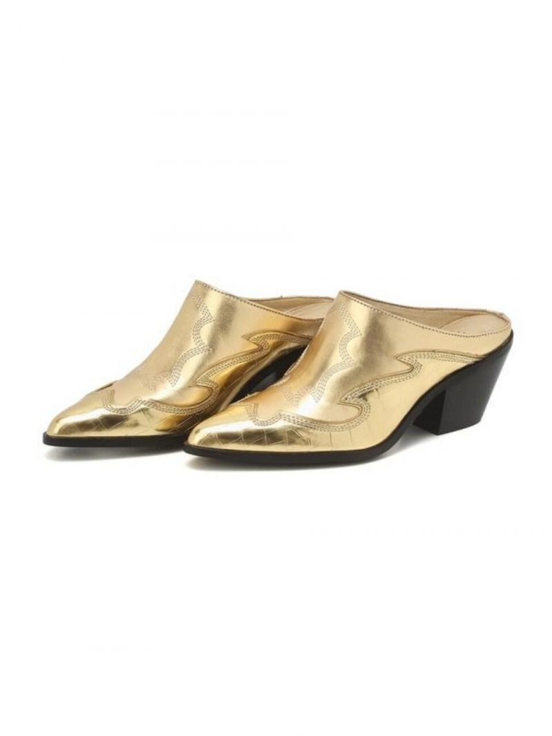 Gold Pattern Cow Leather Western Mule