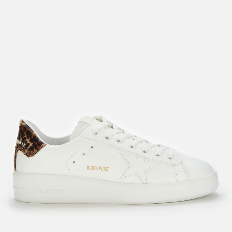 Golden Goose Deluxe Brand Women's Pure Star Leather Chunky Trainers - White/Leopard - UK 4