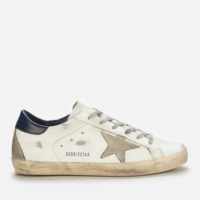 Golden Goose Deluxe Brand Women's Superstar Leather Trainers - White/Ice/Night Blue - UK 6