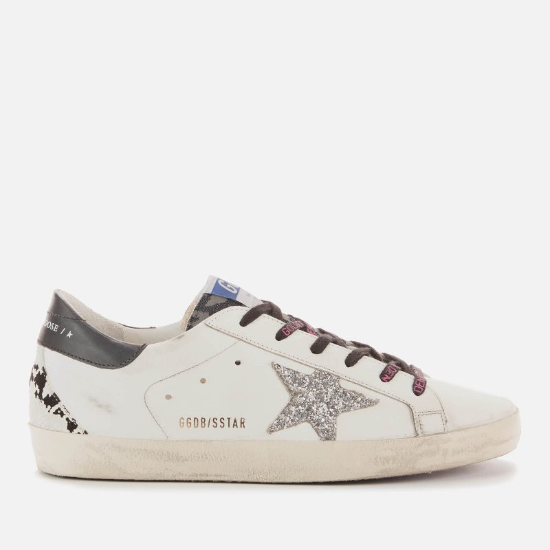 Golden Goose Deluxe Brand Women's Superstar Leather Trainers - White/Indaco Leo/Silver/Black/Grey - UK 8