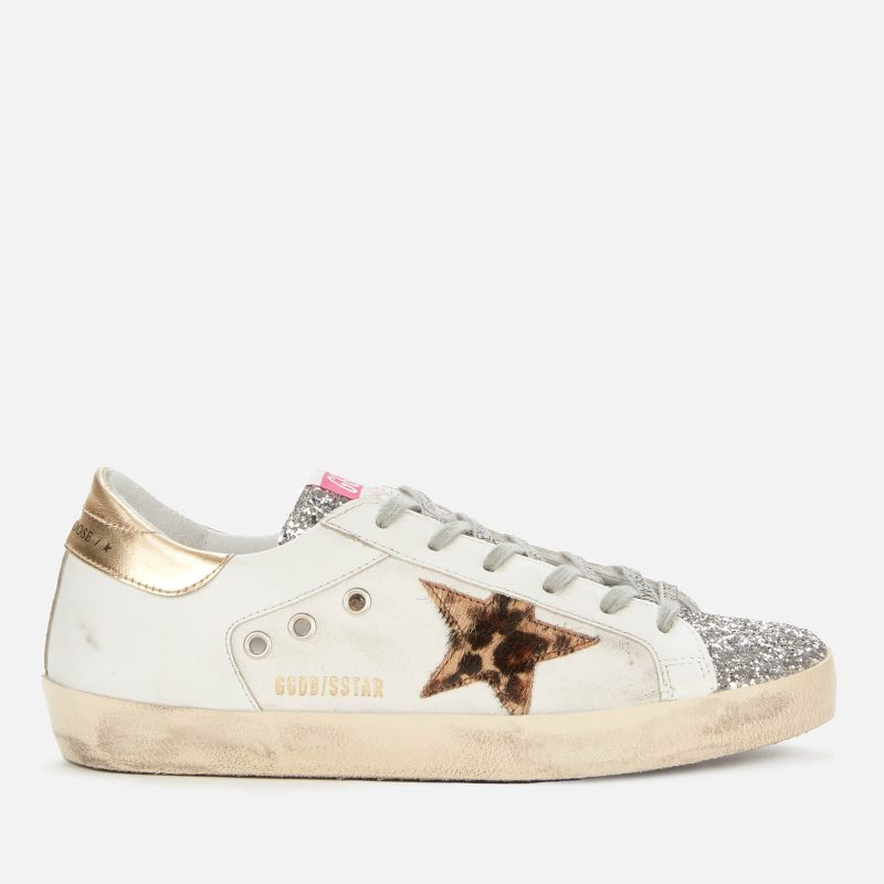 Golden Goose Deluxe Brand Women's Superstar Leather/Canvas Trainers - White/Silver/Beige - UK 3
