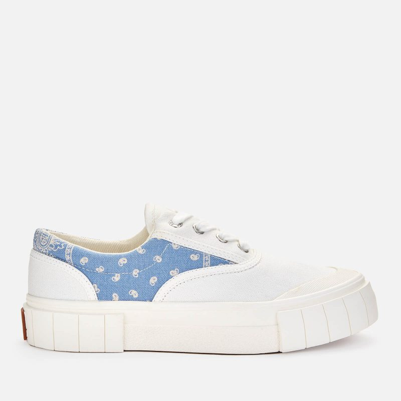 Good News Women's Paisley Opal Low Top Trainers - White/Blue - UK 4