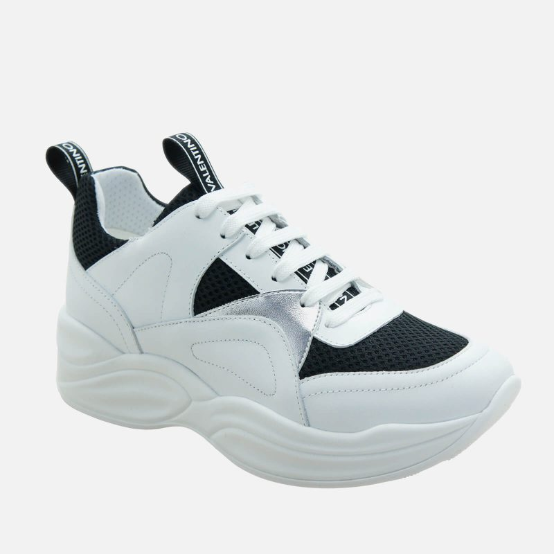 Mario Valentino Shoes Women's Leather/Suede Chunky Running Style Trainers - Black/White - UK 3