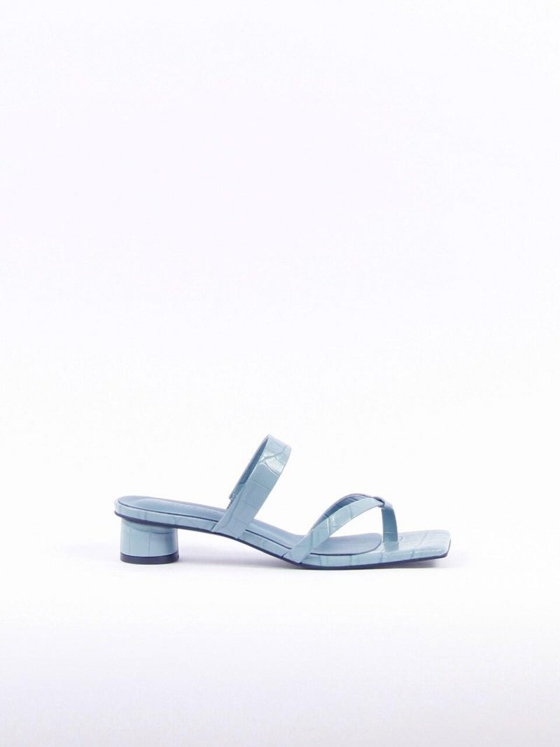 Mirabelle Sandals Leather Sky Blue Croco