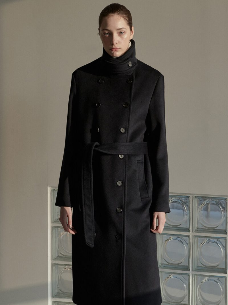 OU549 Wool Double Trench Coat_Deep Navy