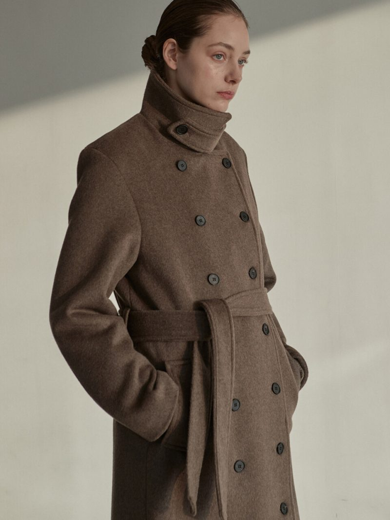 OU550 Wool Double Trench Coat_Brown