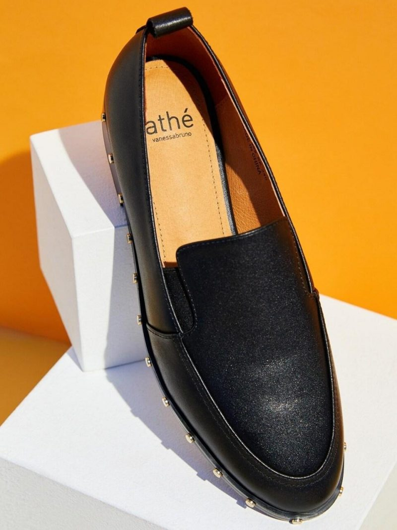 Ov Black Stud Cow Leather Casual Loafers