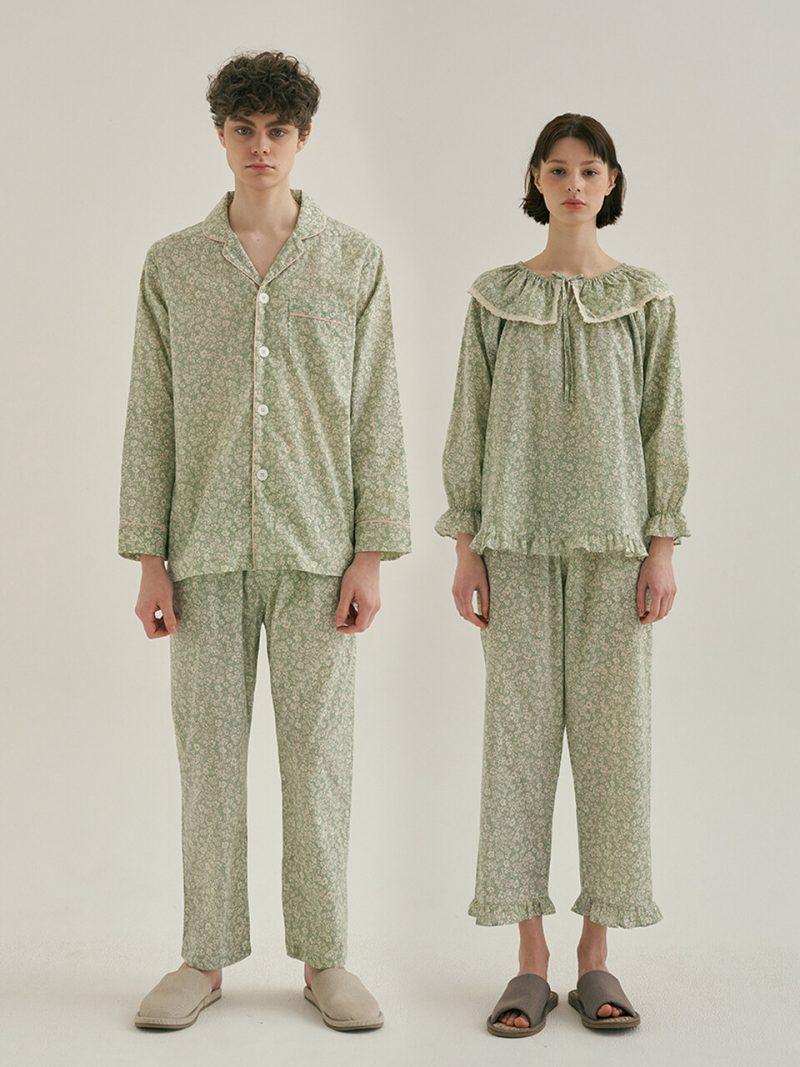 [SET] Couple Green Floral Pajamas With Two-piece