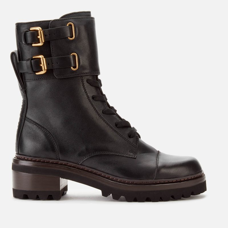 See By Chloé Women's Leather Lace Up Military Boots - Nero - UK 3