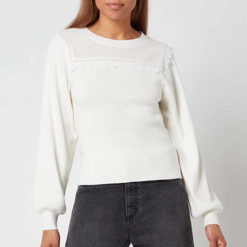 See By Chloé Women's Puff Sleeve Knitted Jumper - White - XS