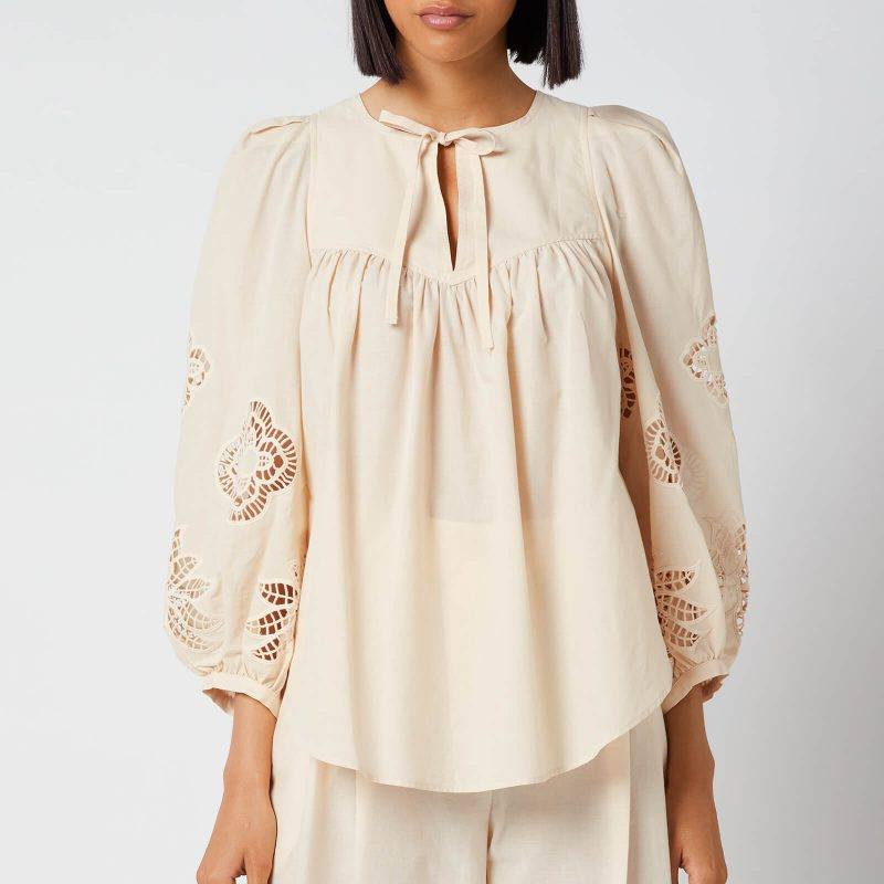 See by Chloé Women's Cotton Voile & Guipure Blouse - Macadamia Brown - EU 34/UK 6