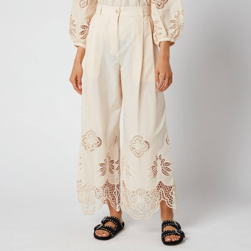 See by Chloé Women's Cotton Voile & Guipure Trousers - Macadamia Brown - EU 34/UK 6
