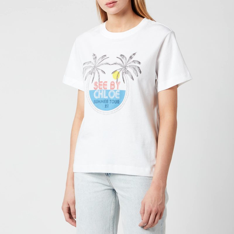 See by Chloé Women's Summer Tour On Cotton Jersey T-Shirt - White - XS