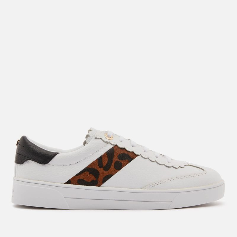 Ted Baker Women's Allvap Leather Cupsole Trainers - White/Leopard - UK 3