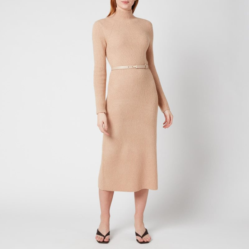 Ted Baker Women's Conniey Funnel Neck Chunky Knitted Midi Dress - Camel - UK 6