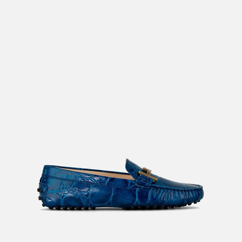 Tod's Women's Gommino Double T Leather Driving Shoes - Blue - UK 3