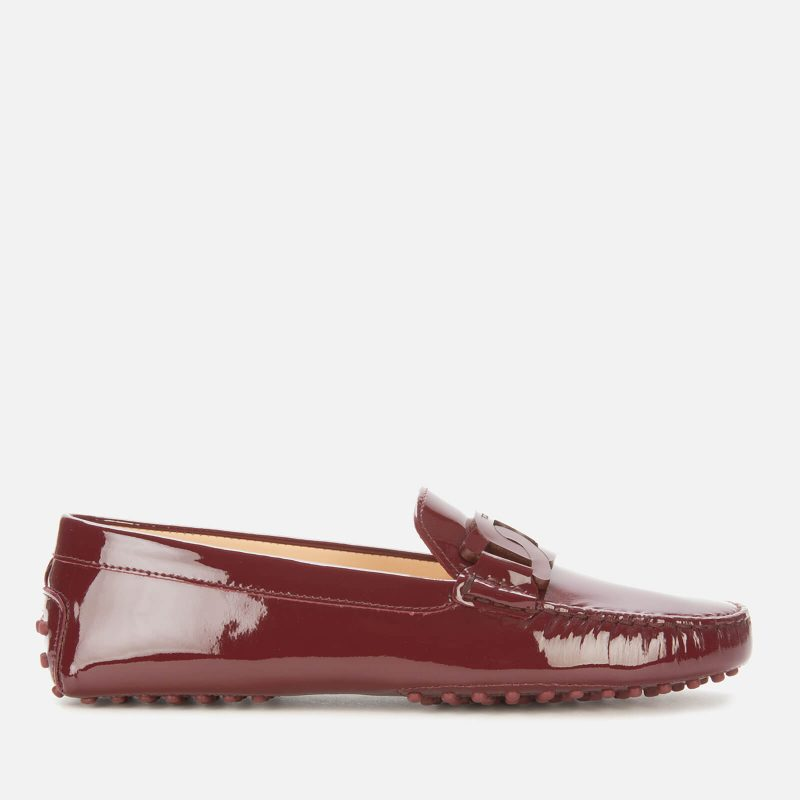 Tod's Women's Gommino Patent Leather Driving Shoes - Burgundy - UK 4
