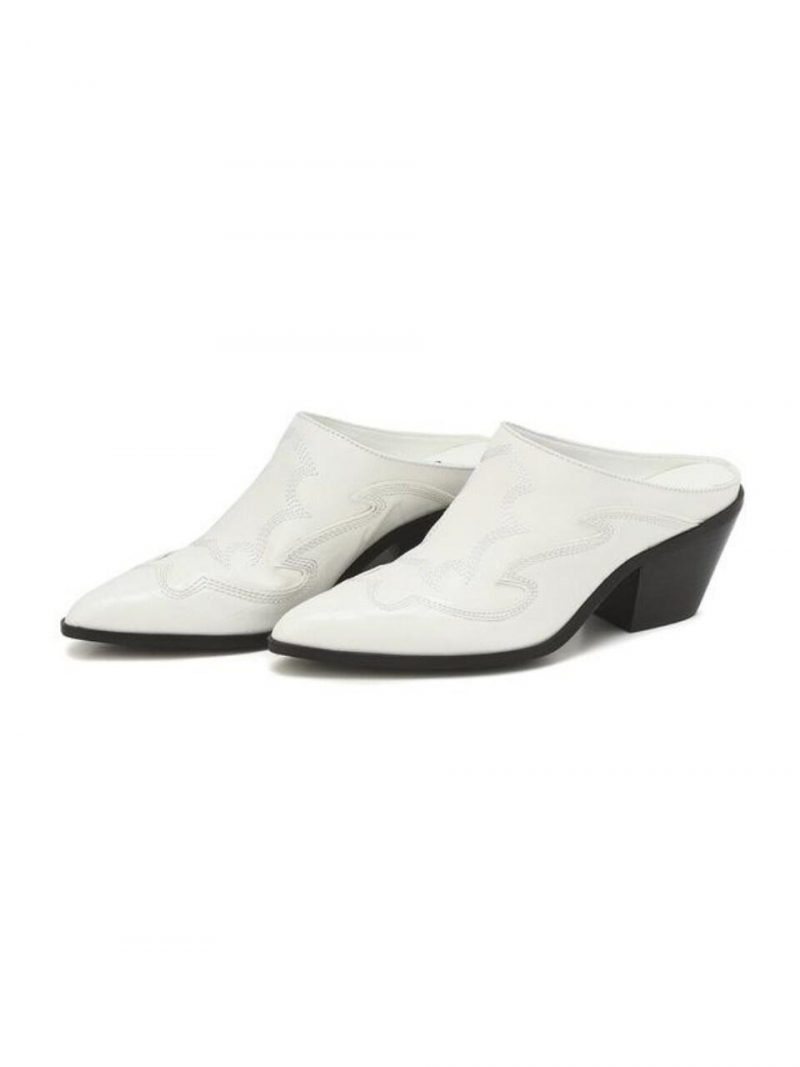 White Pattern Cow Leather Western Mule
