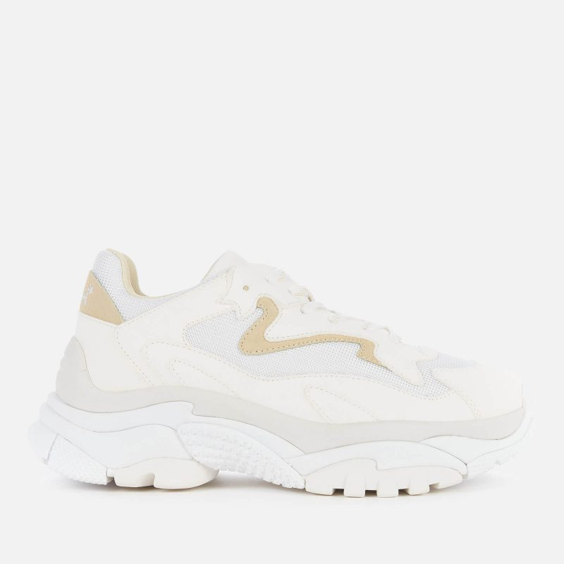 Ash Women's Addict Leather/Suede Chunky Running Style Trainers - White/Vaniglia - UK 5