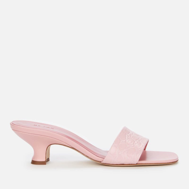 BY FAR Women's Freddy Embossed Leather Mules - Peony - UK 4