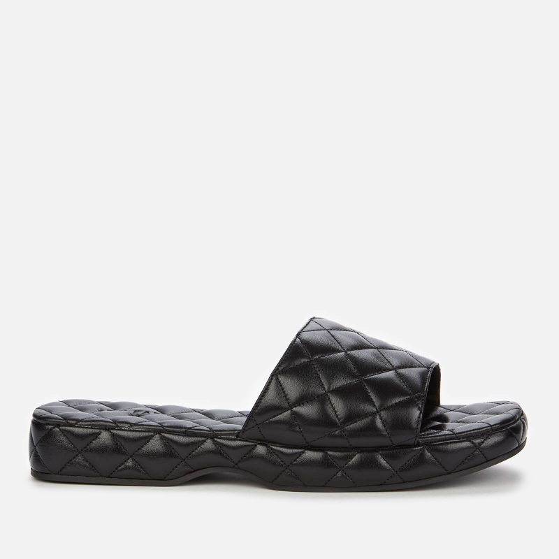 BY FAR Women's Lilo Creased Leather Slide Sandals - Black - UK 3