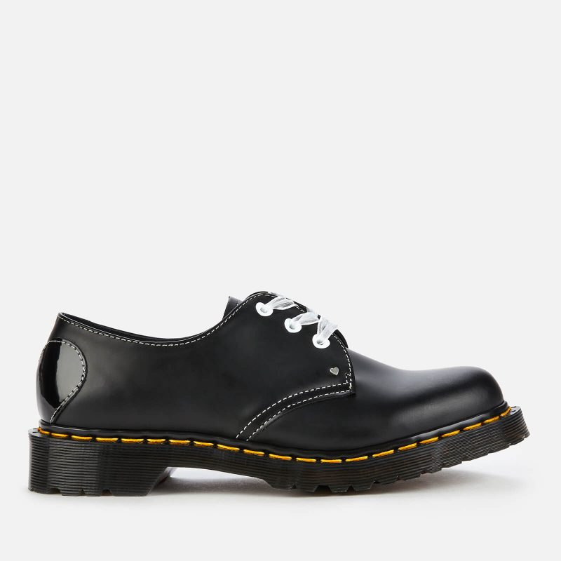 Dr. Martens Women's 1461 Hearts Smooth Leather 3-Eye Shoes - Black - UK 8