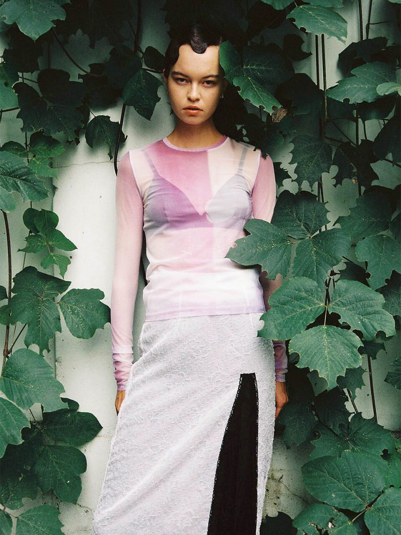 Film Archive Stretch Mesh Top_Pink