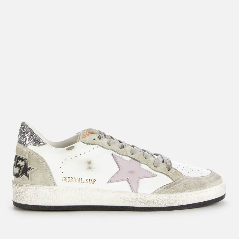 Golden Goose Deluxe Brand Women's Ball Star Leather Trainers - White/Lilac/Oil Green - UK 3