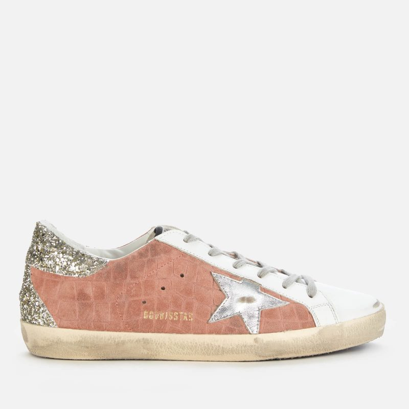 Golden Goose Deluxe Brand Women's Superstar Croc Printed Leather Trainers - Mauve/White/Silver - UK 3