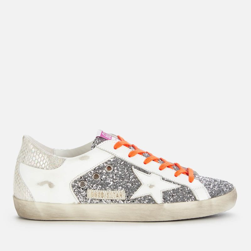 Golden Goose Deluxe Brand Women's Superstar Glitter/Leather Trainers - Silver/White/Ice - UK 3