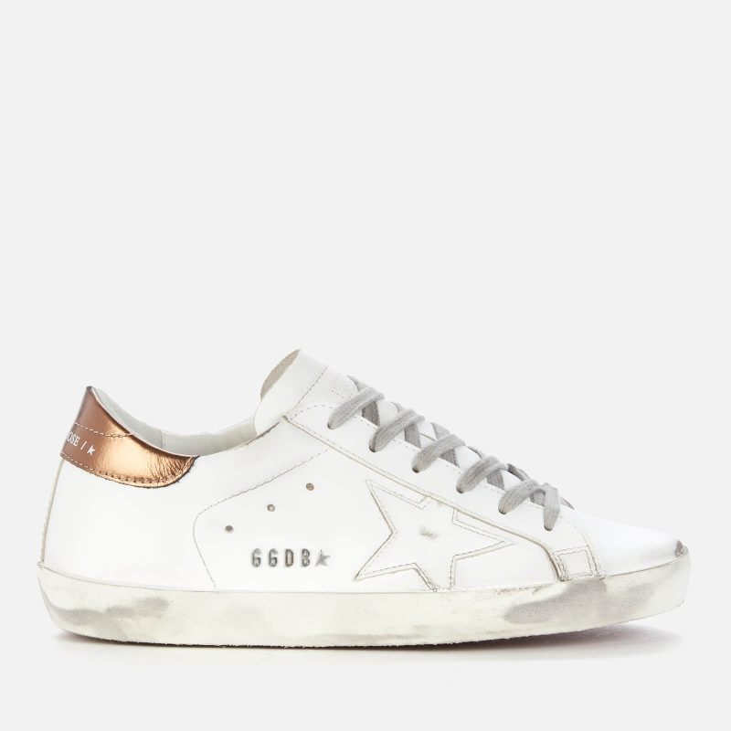 Golden Goose Deluxe Brand Women's Superstar Leather Trainers - White/Gold - UK 3