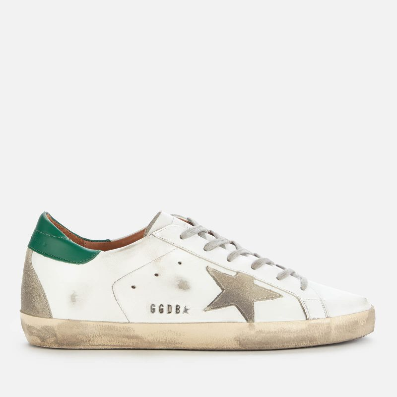 Golden Goose Deluxe Brand Women's Superstar Leather Trainers - White/Ice/Green - UK 3