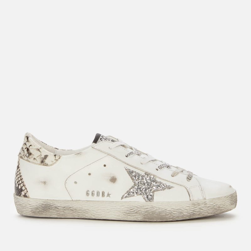 Golden Goose Deluxe Brand Women's Superstar Leather Trainers - White/Silver/Rock Snake - UK 6