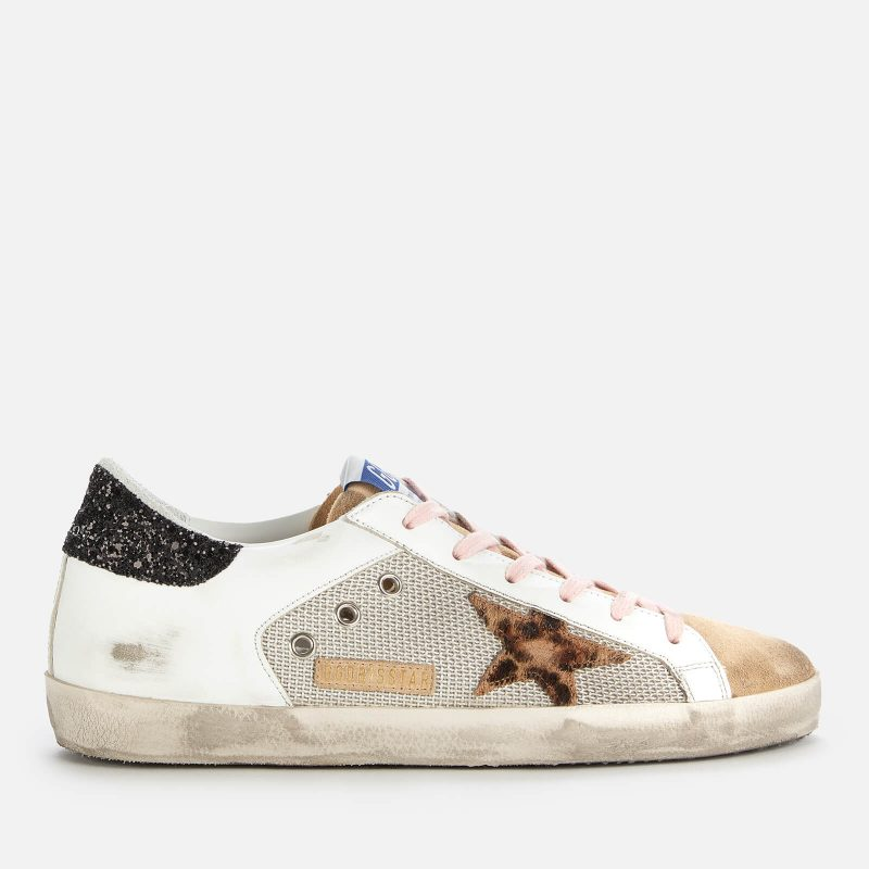 Golden Goose Deluxe Brand Women's Superstar Mesh/Leather Trainers - Silver/White/Capuccino - UK 5