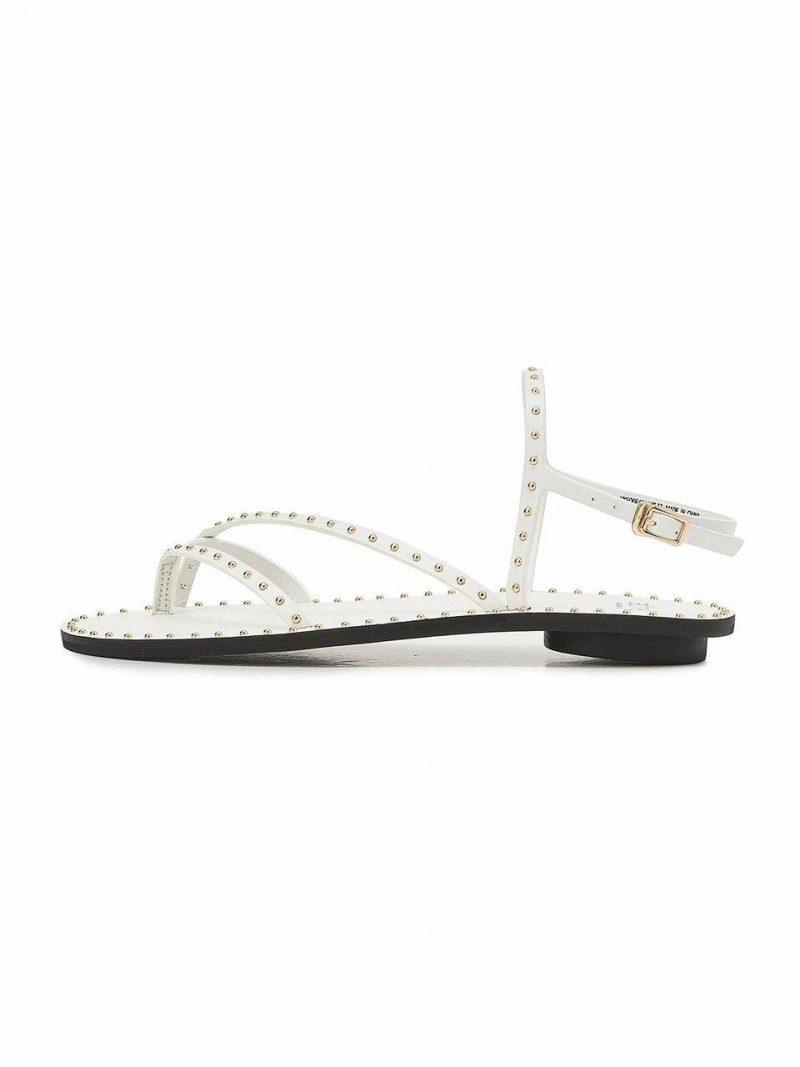 Hib White Stud Point Cow Leather Sandals
