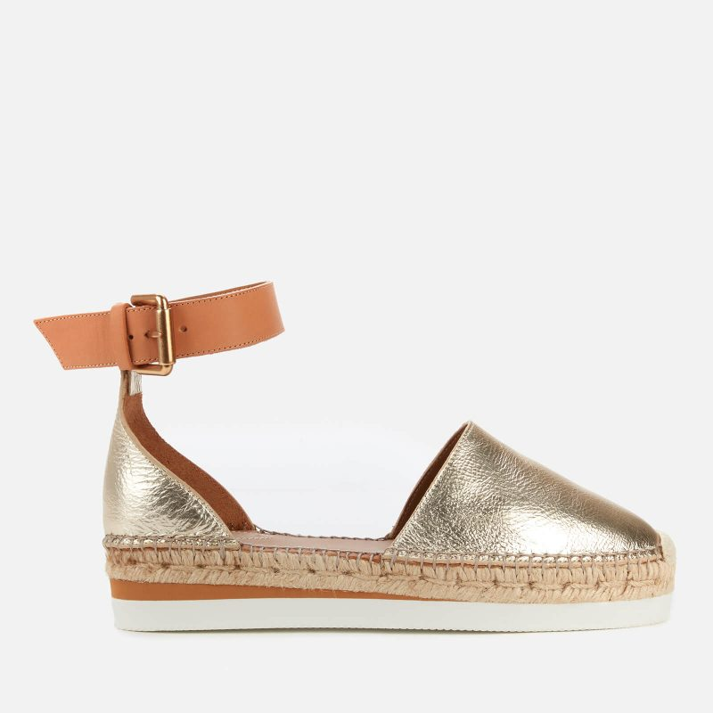 See By Chloé Women's Glyn Leather Espadrilles - Gold - UK 3