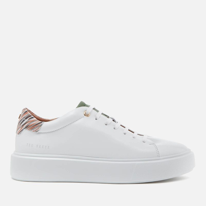 Ted Baker Women's Pixep Leather Flatform Trainers - White - UK 3
