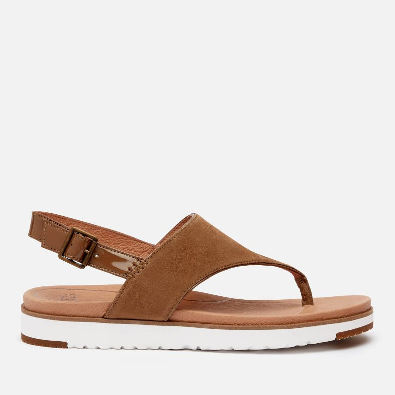 UGG Women's Alessia Suede Toe Post Sandals - Coffee Grounds - UK 3