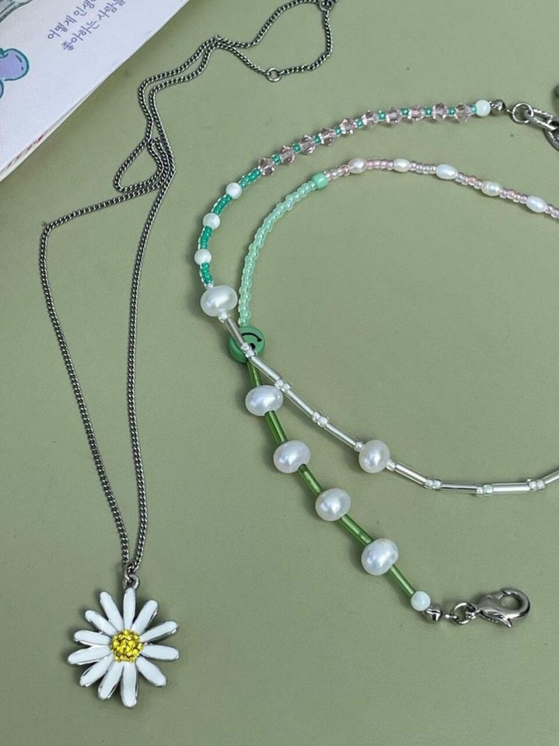 [2SET]Variation Beads+Vintage Daisy Necklace_7Color