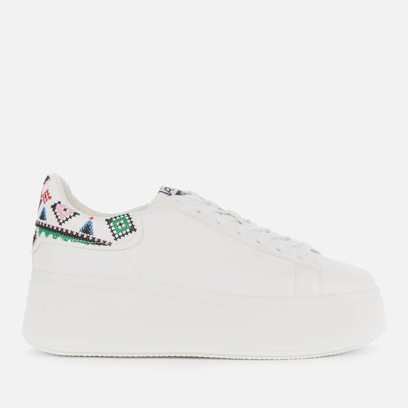 Ash Women's Moby Ethnic Leather Flatform Trainers - White - UK 7