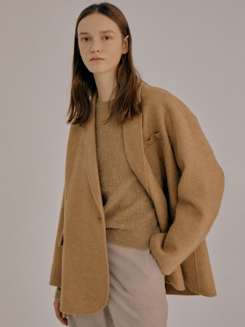 Basic Wool Blend One Button Jacket