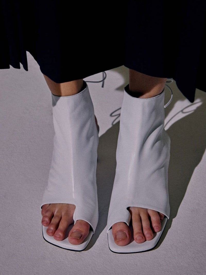 Boon Open Toe Boots B554 White