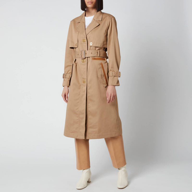 Coach Women's Cotton Trench with Leather Trim - Beige - US 4/UK 8