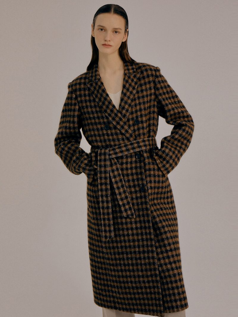 Double Breasted Check Pattern Coat