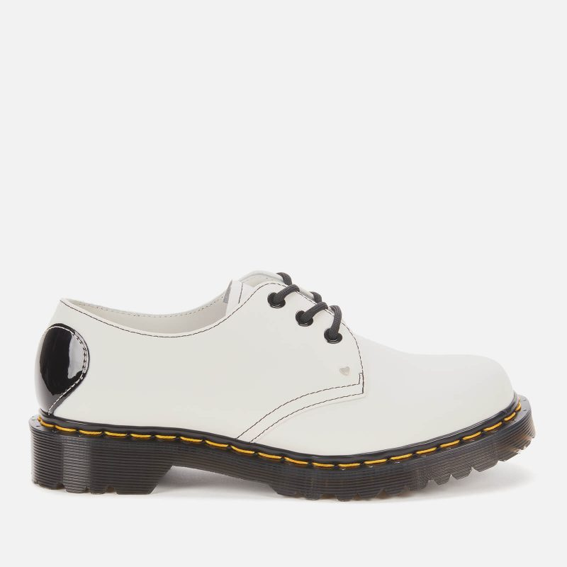 Dr. Martens Women's 1461 Hearts Smooth Leather 3-Eye Shoes - White - UK 8