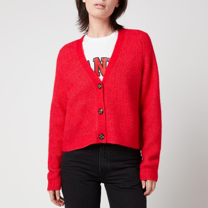 Ganni Women's Soft Wool Knitted Cardigan - Flame Scarlet - S