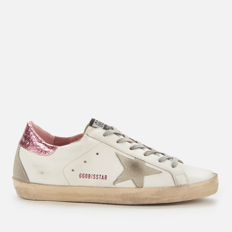 Golden Goose Deluxe Brand Women's Superstar Leather Trainers - White/Ice/Pink - UK 6