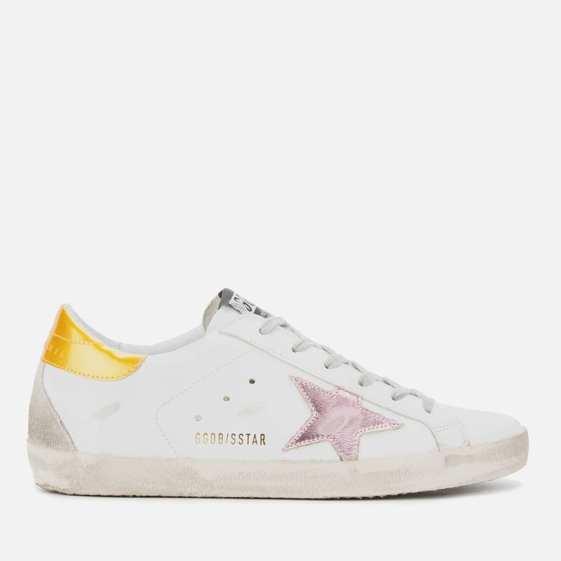 Golden Goose Deluxe Brand Women's Superstar Trainers - White Leather/Gold Pink Metallic Star - UK 7